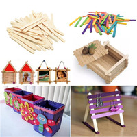Wholesale Wooden Toys Cake - 50PCS Wooden Lollipop Popsicle Sticks 11cmx0.9cm Party Kid DIY Toy Crafts Ice Cream Lolly Cake Pops Making Accessories Wholesale