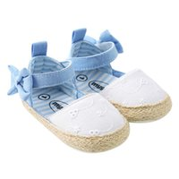 Wholesale baby white mary jane shoes - Baby canvas shoes Princess Girls Mary Jane Shoes first walkers bow Bebe Ballet soft soled Walking Shoe