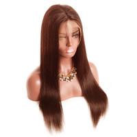 açık kahverengi dantel perukları toptan satış-Tam dantel peruk Dantel Ön peruk Düz # 2 # 4 açık koyu kahverengi renk İnsan Saç bebek saç Ön Koparıp Doğal Saç Çizgisi