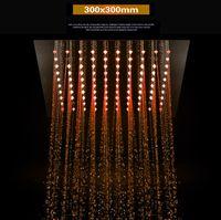 стальные вставки оптовых-Принадлежности для ванной комнаты Скрытая встроенная душевая лейка 300x300 мм с несколькими светодиодами для смены цвета 304 Душевая головка из нержавеющей стали