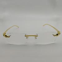 óculos sem titânio sem aro venda por atacado-Homens Titanium Alloy Leopard Óculos Frames Sem Aro Quadrados Óculos de Luxo Lente Clara Óptica Óculos de Armação de Ouro para Leitura