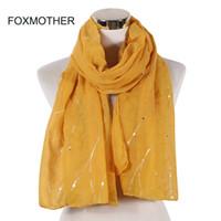 ingrosso sciarpa a righe gialle-FOXMOTHER New Fashion Rosa Giallo Foil Striper Sciarpa a righe Scialle Avvolge Foulard Womens Lady