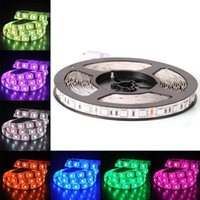 Wholesale led color changing strip - 12V Flexible SMD 5050 RGB LED Strip Lights LED Tape Multi-colors 300 LEDs Non-waterproof Light Strips Color Changing Pack of 16.4ft 5m Strip