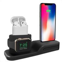 apple iwatch charging toptan satış-3 in 1 Şarj Standı Çok Fonksiyonlu Şarj Istasyonu Silikon kabuk için iphone airpods ve iphone iwatch manyetik kablosuz şarj için fit
