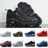 Wholesale best flat boots shoe resale online - 2019 TN plus running shoes mens womens best quality knit olive in metallic triple white sneakers mens silver black fly boots