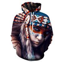 ingrosso felpe con cappuccio univoco-2018 New 3D Felpe Felpe unisex indiane casual con cappello stampa Unico autunno inverno allentate maglioni felpa con cappuccio felpa con cappuccio