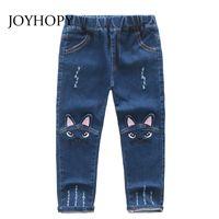 ingrosso modello jeans bambino-Cute Cartoon Pattern Kids Jeans Primavera Autunno Inverno Lovely Cat Pantaloni per bambini di alta qualità Pantaloni casual Neonate Jeans