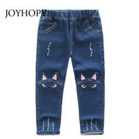 motif jeans pour bébé achat en gros de-Mignon Dessin Animé Motif Enfants Jeans Printemps Automne Hiver Beau Chat Haute Qualité Enfants Pantalons Pantalons Décontractés Bébé Filles Jeans