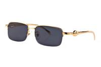 gafas de animales al por mayor-1pcs gafas de sol del rectángulo de la manera con mejores ventas para las gafas de sol para hombre gafas de sol del oro del metal marcos de animales mejores casos y caja