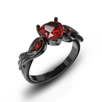 черные обручальные кольца оптовых-Rimantic Red Crystal Heart Engagement Rings for Women Black Gun Color Wedding Party Fashion Wings Charms Ring Jewelry anillos