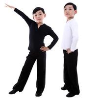 calças de dança latinas venda por atacado-Menino Latin Dancewear Latin Dance Exercise roupas Ruffly Ballroom Stage Modern Meninos roupas de Treinamento de Dança Camisa + calças