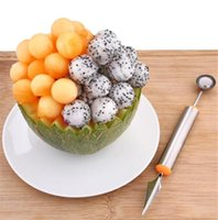 Wholesale watermelon carving tools for sale - Group buy Multi Function Stainless Steel Fruit Watermelon Melon Baller Carving Knife Ice Cream Scoop Spoon Useful Kitchen Tools
