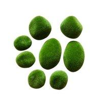 ingrosso green moss-8 pz Micro Paesaggio Decorazione FAI DA TE Mini Fata Giardino Verde Artificiale Muschio Fuzzy Stones Erba Pianta Poted Home Garden Decor p20
