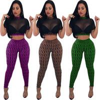 schiere yogahose großhandel-Sexy Zwei Stücke Nacht Out Frauen Outfits Heißer Design Sheer Tüll Kurzen Ärmeln High Neck T-shirt Hosen Anzüge Druck Partei Kleidung 2018