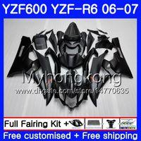 kit de carenado r6 negro mate al por mayor-Cuerpo + tanque para YAMAHA YZF R 6 YZF 600 YZF-600 YZFR6 06 07 Marco 233HM.0 YZF-R6 06 07 YZF600 YZF R6 2006 2007 Fairings Kit Hot ALL Mate negro