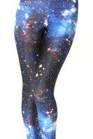 ingrosso blue galaxy tights-Vendita calda blu cielo stellato galassia stampato moda donna leggings collant pantaloni yoga sport ventilato leggings poliestere alta elastico legging
