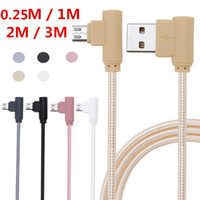 Wholesale Micro Usb Angle Adapter - 0.25m 1m 2m 3m Braided Micro USB 90 Degree Angled Fast Data Sync Charger Cable Adapter For Huawei P8 Lite 2017 For Samsung S6 S7