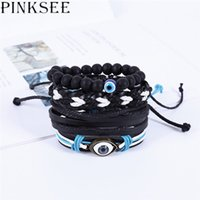 несколько кожаных браслетов оптовых-PINKSEE Vintage Multiple Layers Punk Leather Bracelets Set Men Classic Rope Chain for Men Jewelry Gifts Charms