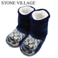 ingrosso pantofole cute-STONE VILLAGE Pantofole da donna Cute Cat Stampa Cartoon Animazione Home Pantofole Inverno caldo peluche morbido cotone scarpe da interno