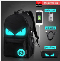 Wholesale computer anti theft - USB Charge Computer Anti-theft Laptop Backpack School Backpack Student Luminous Animation School Bags For Teenager mochila