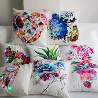 Wholesale floral sofas - Colorful Floral Printed LED Lumious Pillowcase Pillow Cover Bedding Sofa Car Decoration Home Textiles 45*45cm NNA407