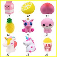 Wholesale peaches movies - Squishy toys Strawberry Perfume Cream milk lemon peach Pineapple unicorn jellyfish popcorn Jumbo Decor Slow Rising Squishies Free Shipping