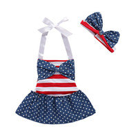 Wholesale star baby dress - Girls American Flag Dress Stars Stripes Bows Headband for American Independence Day Baby Girls Braces Skirt Summer Outfit TIANGELTG