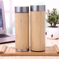 ingrosso tazza di acqua di bambù-Logo personalizzato! Tazza d'acqua di bambù di vuoto isolata bottiglia d'acciaio creativa con coperchio Tazza di tè tazza di legno dritto