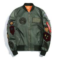 Wholesale korean mens jacket slim - New Spring US MA-1 Bomber Jackets Korean Mens Slim Baseball Coat with Patches Army Windbreaker Jackets