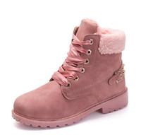 botas de pele de salto baixo venda por atacado-Novas botas de veludo de pele de inverno sapatos senhoras martin botas de segurança do trabalho sapatos de salto baixo ankle boots para as mulheres de couro zx987