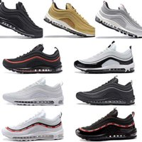 uk availability 78a3a 9fdf1 Air Max 97 Airmax 97 Hommes Chaussures air 97 Coussin Respirant Décontracté  Chaussures Pas Cher Massage Courir blanc Plat Sneakers Homme 97 Sports ...