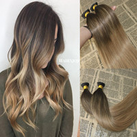 Wholesale fusion hair extension keratin resale online - Balayage Human Hair I tip Extensions Omber Fading to I Tip Fusion Prebonded Hair Extensions Stick Keratin I Tip Hair g