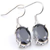 Wholesale black cz 925 silver earrings resale online - Luckyshine Holiday Jewelry Gifts For Women Silver Black CZ Earrings Classic Europe popular Oval Egg Dangle Earrings Pair