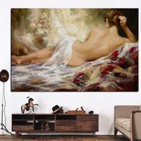 photos nue sexy achat en gros de-Impression Portrait Résumé Moderne Nude Femme Peinture à L'huile sur Toile Art Sexy Femme Dame Corps Mur Photo pour Salon Cuadros