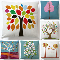 Wholesale flower pillow pattern - 40 styles linen fashion waist pillows caushion trees cartoon flower printed home decorative pillow cover sofa