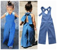 Wholesale jeans jumpsuit baby girl - 2018 fashion kids girls jumpsuits baby girl overalls jeans cotton bodysuits childrens backless halter rompers boot cut pants denim bells hot