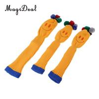 gülümseyen çoraplar toptan satış-MagiDeal 3 adet Gülen Yüz Pom Pom Çorap Seti Vintange Örgü Evrensel Golf Başkanı Sürücüler için Fit Kapakları / Fairway Woods / melezler