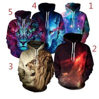 Wholesale galaxy print hoodie womens - 3D Hoodies Mens Womens Casual Sweatshirts Space Galaxy wolf lion Print Hoodie Universe Starry Sky Graphic Unisex Pullover Tracksuit DHL10pcs