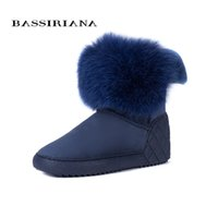 Wholesale insoles warming - BASSIRIANA New 2017 genuine sheepskin suede warm winter ankle snow boots shoes woman increase insole fur round toe 36-40 size