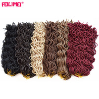 Wholesale curly braiding hair online - Feilimei Faux Locs Curly Crochet Hair Inch g Roots Synthetic Black Brown Blonde Winered Braid Hair Extensions