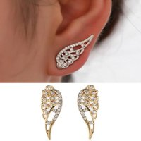 nuevos pendientes punk al por mayor-New Wings Stud Earrings Para Mujeres Punk Silver Gold Angel Wings Pendientes diseño simple Hiphop joyería de moda