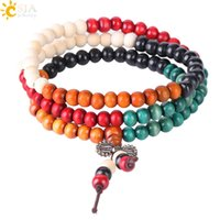 Wholesale tibetan wooden beads online - CSJA pc Wooden Bead Bracelet Natural Wood Beaded Jewelry Tibetan Silver Charms Mala Rosary Buddha Bracelets Cheap Jewellery S066