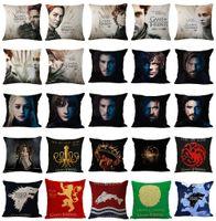 spiel throne kissen großhandel-45x45 cm Game of Thrones Kissenbezug Baumwolle Leinen Stuhl Schlafzimmer Sitz Dekorative Kissenbezug Platz Kissen Auto-Abdeckungen