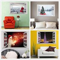 yılbaşı santa pencere çıkartması toptan satış-3D Noel Duvar Sticker Sahte Pencere Duvar Çıkartmaları Çıkarılabilir Kendinden yapışkanlı PVC Duvar Çıkartması Noel Baba Noel Ağacı Ev Dekorasyon 24