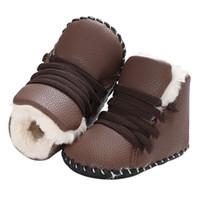 bebek deri ayakkabıları lastik tabanlar toptan satış-Yenidoğan Çocuklar PU Deri Kız Erkek Beşik Snowfield Yumuşak Kauçuk Soled Ayakkabı Bebek Yürüyor bebek Kış Çizmeler