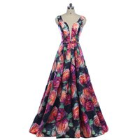 sexy abendkleider muster großhandel-Neue 2018 Gorgeous Style Dress Abend Prom Party Blumendruck Muster Vestido de Festa sexy V-Ausschnitt lange Stil Kleid
