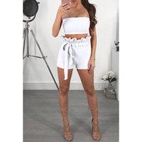 jumper şort kıyafeti toptan satış-Seksi Mahsul Tops + Şort Kadın Setleri Yaz Moda Straplez Beachwear Tatil İki Adet Kıyafet Jumper 2XL Playsuits WS9009U
