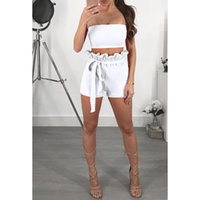 ingrosso vestito shorts jumper-Sexy Crop Tops + Shorts Donna Sets Summer Fashion Senza spalline Beachwear Vacanza Two Pieces Outfit Jumpers 2XL Playsuits WS9009U