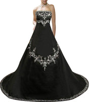 Wholesale formal africa dresses for sale - Modest Strapless Plus Size Black Wedding Dresses Gothic Appliques Ball Africa Country Custom Vestido de novia Formal Bridal Gown Arabic