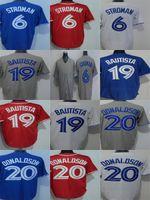 Wholesale Grey Outlet - Factory Outlet Mens Womens Kids Toddlers Toronto 19 Jose Bautista 20 Josh Donaldson 6 Marcus Stroman Grey Blue Red White Baseball Jerseys